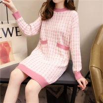 Dress Winter 2020 Pink, black and white Average size longuette singleton  Long sleeves commute Crew neck Loose waist lattice Socket routine Others 18-24 years old Type H Han Xuan Splicing YX8060./ 91% (inclusive) - 95% (inclusive) knitting cotton Cotton 93.1% polyurethane elastic fiber (spandex) 6.9%