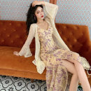 Dress Autumn 2020 Only Purple Lace suspender skirt only lace long cardigan S M L average code Mid length dress Two piece set Long sleeves commute V-neck High waist Broken flowers Socket Irregular skirt pagoda sleeve camisole 25-29 years old Type X Bukou court CH03-05 More than 95% Lace other