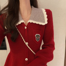 Dress Spring 2021 Red dress S M L XL Short skirt singleton  Long sleeves commute Polo collar High waist other Single breasted Big swing routine Others 18-24 years old Type X Bukou Retro Three dimensional decorative button with stitched pocket thread DA22-13 More than 95% knitting other Other 100%