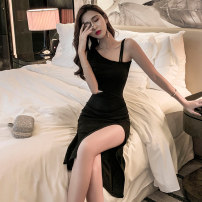 Dress Summer of 2019 S M L Mid length dress singleton  Sleeveless commute Slant collar High waist Solid color Socket One pace skirt routine camisole 18-24 years old Type H Korean version More than 95% brocade polyester fiber Other polyester 95% 5% Pure e-commerce (online only)