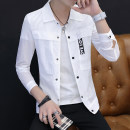 Jacket Hancatu Youth fashion M L XL XXL XXXL thin Self cultivation Other leisure summer Polyamide fiber (nylon) 100% Long sleeves Wear out Lapel tide teenagers routine double-breasted Rib hem Spring of 2019 Pure e-commerce (online only)