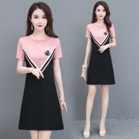 Dress Summer 2020 Pink M,L,XL,2XL,3XL,4XL Middle-skirt singleton  Short sleeve commute Crew neck Solid color zipper Splicing 71% (inclusive) - 80% (inclusive)