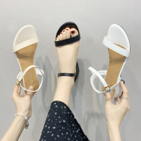 Sandals 35 36 37 38 39 40 BEIGE BLACK WHITE PU Youaisha Barefoot Thick heel Middle heel (3-5cm) Summer 2021 Flat buckle Korean version Solid color Adhesive shoes Youth (18-40 years old) rubber daily Back space Thick heel Low Gang Lateral space PU PU GRFTGAWERTFGER Roman shoes Shaving Women's