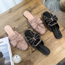 slipper 35 36 37 38 39 40 Youaisha Pink Black Flat bottom Low heel (1-3cm) PU Summer 2021 Baotou rubber daily Korean version Adhesive shoes Youth (18-40 years old) Solid color rhinestone PU PU Shaving Pure e-commerce (online only) Women's