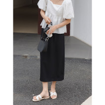 skirt Summer 2021 Average size Black, cream apricot Mid length dress commute Natural waist A-line skirt Solid color Type A 18-24 years old More than 95% Chiffon Wang Feijia polyester fiber Korean version