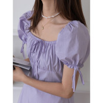 Dress Summer 2021 White, taro purple XS,S,M,L longuette singleton  Short sleeve commute square neck High waist Solid color Socket A-line skirt puff sleeve Breast wrapping 18-24 years old Type A Wang Feijia Korean version Bow tie, open back, lace, bandage More than 95% cotton