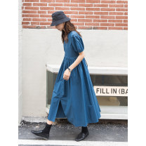 Dress Summer 2021 One size fits all, s, m, l longuette singleton  Short sleeve commute V-neck Loose waist Solid color Socket A-line skirt puff sleeve Others 18-24 years old Type A Wang Feijia Korean version Strap, button More than 95% other cotton