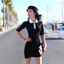 Dress Summer of 2018 black S M L Short skirt singleton  Short sleeve street other High waist Single breasted other other Others Type H Sports & Leisure