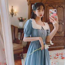 Dress Spring 2021 S,M,L longuette singleton  Short sleeve commute square neck High waist Solid color Socket Princess Dress puff sleeve Others 18-24 years old Type A literature Resin fixation 31% (inclusive) - 50% (inclusive) brocade cotton