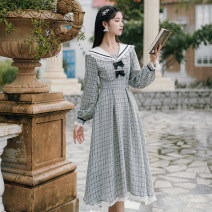Dress Spring 2021 Purple, black S,M,L Mid length dress singleton  Long sleeves commute Admiral High waist lattice zipper A-line skirt other 25-29 years old Type A literature Bowknot, stitching BR2013H8042I 31% (inclusive) - 50% (inclusive) cotton