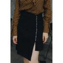 skirt Spring 2020 XS,S,M,L black Short skirt commute High waist Irregular Solid color Type H Black Pearl skirt 51% (inclusive) - 70% (inclusive) other Other / other polyester fiber Asymmetry, buttons, slits Simplicity
