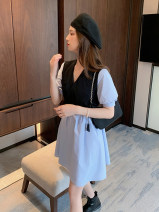 Dress Summer 2020 Blue is white S M L XL Mid length dress Fake two pieces Short sleeve commute V-neck Elastic waist Solid color Socket A-line skirt puff sleeve Others 18-24 years old Type A Dorothy Korean version Lace up stitching button ARCR59832 More than 95% other other Other 100%