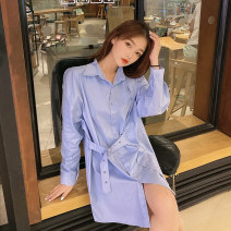 shirt Blue black S M L XL Spring 2021 other 96% and above Long sleeves commute Regular Polo collar Single row multi button routine Solid color 18-24 years old Straight cylinder Dorothy Korean version FWLZ64927 Lace up button Other 100% Pure e-commerce (online only)