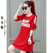 T-shirt Red yellow green black M L XL 2XL Summer 2021 Short sleeve Crew neck easy Medium length routine commute cotton 86% (inclusive) -95% (inclusive) 25-29 years old Korean version originality letter Tamanyan tmy-yyc-2988-1 Printed stitching bandage Pure e-commerce (online only)