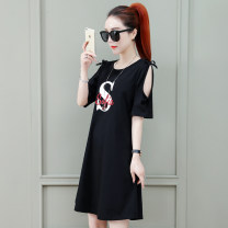 Dress Summer 2021 White, red, black M L XL 2XL longuette singleton  Short sleeve commute Crew neck Loose waist letter Socket A-line skirt routine Others 25-29 years old Type H Tamanyan printing tmy-yms-6615 More than 95% cotton Cotton 95.8% polyurethane elastic fiber (spandex) 4.2%