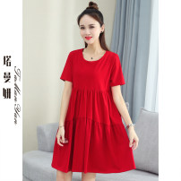 Dress Summer 2021 Black red yellow M L XL XXL longuette singleton  Short sleeve commute Crew neck Loose waist Solid color Socket A-line skirt routine Others 25-29 years old Type H Tamanyan Korean version Splicing tmy-ssx-9822 91% (inclusive) - 95% (inclusive) cotton Pure e-commerce (online only)