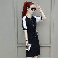 Dress Summer 2021 Black white red M L XL 2XL 3XL longuette singleton  Short sleeve commute V-neck middle-waisted Solid color Socket A-line skirt routine 25-29 years old Type H Tamanyan Frenulum tmy-ywk-2950 30% and below Lycra Lycra Pure e-commerce (online only)