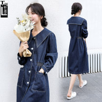 Dress Autumn 2020 Denim blue M L XL Mid length dress singleton  Long sleeves commute Admiral Elastic waist Solid color Single breasted A-line skirt routine Others 25-29 years old Type H Listen to Lotus Korean version pocket ZJF2TLQ3136 More than 95% Denim cotton Cotton 100%