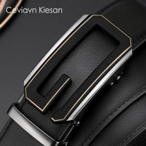 Belt / belt / chain top layer leather Black gold button, black gun button male belt business affairs Single loop middle age Automatic buckle letter Glossy surface 3.5cm alloy alone Dream of Snow Dragon W9JLgpN 110cm 115cm 120cm 125cm 130cm Spring 2021 no