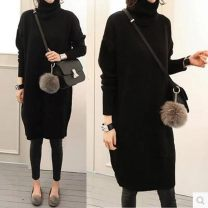 sweater Autumn of 2018 S,M,L Black, gray Long sleeves Socket singleton  Medium length wool 30% and below High collar thickening commute routine Straight cylinder Keep warm and warm