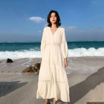 Dress Summer 2021 White (short sleeve), white long sleeve S,XL,L,M,XXL Mid length dress singleton  Long sleeves Sweet V-neck High waist Solid color zipper routine Others 18-24 years old Type A Yicheng forest Gouhua, hollowing out, embroidery, hollowing out 71% (inclusive) - 80% (inclusive) other