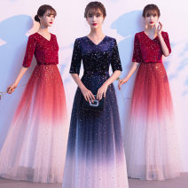 Dress / evening wear wedding S M L XL XXL XXXL XXXXL Korean version longuette middle-waisted Spring 2021 Fall to the ground Deep collar V zipper 18-25 years old A1005 elbow sleeve Nail bead Solid color routine Polyester 100% Pure e-commerce (online only) Cotton 61% - 70% Sequins