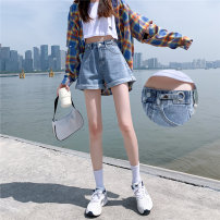 Jeans Summer 2020 Blue white black gray Retro Blue Black XS S M L XL XXL shorts High waist Wide legged trousers 18-24 years old Washed zipper button Multi Pocket metal decoration others Cotton denim light colour Be naughty Cotton 98% other 2% Exclusive payment of tmall