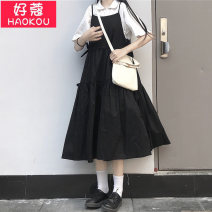 Dress Summer 2021 White shirt dress Average size longuette singleton  Short sleeve commute Crew neck High waist Solid color Socket A-line skirt routine camisole 18-24 years old Type A OK Korean version Splicing HG2726 51% (inclusive) - 70% (inclusive) cotton Cotton 65% polyester 35%