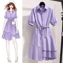 Dress Summer 2021 Purple white green M L XL 2XL 3XL 4XL Middle-skirt singleton  elbow sleeve commute Polo collar High waist Solid color Socket A-line skirt other Others 25-29 years old Type A Unusual Korean version Stitching buttons More than 95% Chiffon polyester fiber Polyester 100%