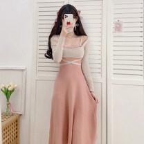 Dress Spring 2021 Apricot blouse + pink suspender skirt black blouse + apricot suspender skirt S M L XL Mid length dress Two piece set Long sleeves commute square neck High waist other Socket Big swing routine Others 18-24 years old Type A Yunfeina Korean version GZ321YFN More than 95% knitting