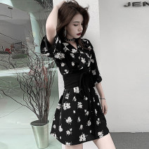 Dress Summer 2020 French black floral skirt with belt XS S M L XL Short skirt singleton  elbow sleeve commute V-neck High waist Decor Socket A-line skirt routine Others 18-24 years old Type A Yunfeina Korean version Frenulum YFN916 More than 95% other polyester fiber Polyester 100%