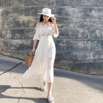 Women's large Summer 2020 Pure white L XL S M Dress singleton  commute moderate Short sleeve Solid color Korean version One word collar other Three dimensional cutting pagoda sleeve Ou Lailu 18-24 years old Lace stitching 96% and above longuette Other 100% Pure e-commerce (online only) other zipper