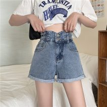 Jeans Summer 2021 blue S,M,L shorts High waist Wide legged trousers routine 18-24 years old Multiple pockets light colour DY696216