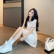 Dress Summer 2021 White, black Average size Middle-skirt singleton  Short sleeve commute V-neck High waist Socket A-line skirt routine Others 18-24 years old Type A Korean version Fold, splice other other