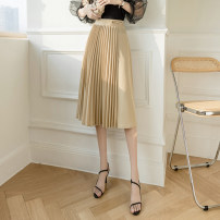 skirt Spring 2021 S,M,L,XL Black, oatmeal Mid length dress Versatile High waist Pleated skirt Solid color Type A 25-29 years old DY207344 Asymmetry, splicing