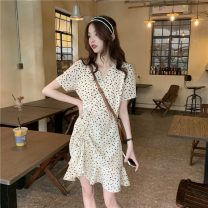Dress Spring 2021 Apricot Average size Short skirt singleton  Short sleeve commute V-neck High waist Decor zipper Ruffle Skirt routine Others 18-24 years old Type A Other / other Korean version Ruffles, bows, lace DY61126