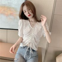 shirt Apricot, white Average size Spring 2021 other 96% and above Short sleeve commute Short style (40cm < length ≤ 50cm) V-neck Socket puff sleeve Solid color 18-24 years old Self cultivation Korean version DY99221 Lace up, stitching, pleating, pleating, asymmetry, bandage