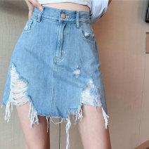 skirt Summer 2021 S,M,L blue Short skirt commute High waist Denim skirt Type A 18-24 years old DY20740 cotton Asymmetry, splicing Korean version