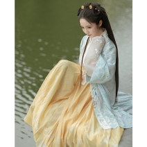 Hanfu 31% (inclusive) - 50% (inclusive) Summer 2020 Apricot with spot green printing on the inside and yellow pleated skirt on the outside S M L XL polyester fiber