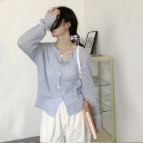 Wool knitwear Spring 2021 S M L Beige blue Long sleeves singleton  Cardigan other 51% (inclusive) - 70% (inclusive) Regular routine commute easy V-neck routine Solid color Single breasted Korean version 18-24 years old Delicate and elegant Button Polyester 70% other 30% Pure e-commerce (online only)