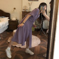 Dress Summer 2020 Purple with bare skin will not penetrate ~, apricot with bare skin will not penetrate~ S spot, m spot, l spot longuette Fake two pieces Short sleeve commute V-neck Loose waist Solid color Single breasted Type A VEIL OPENING Korean version other