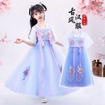Dress female 110cm,120cm,130cm,140cm,150cm,160cm Polyester 95% cotton 5% spring and autumn Chinese style Short sleeve flower Chiffon Princess Dress Class B 14, 3, 5, 9, 12, 7, 8, 6, 13, 11, 4, 10 Chinese Mainland Guangdong Province Shantou City