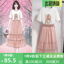 Fashion suit Summer 2021 S M L XL Pink T-shirt 811516 pink skirt 811517 pink suit 18-25 years old Oenothera 811516-811517 Polyester 100%