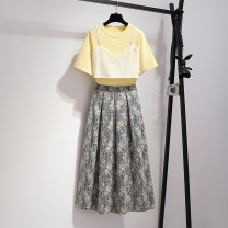 Dress Summer 2021 Yellow top 811596 long skirt 811595 top 811596 + long skirt 811595 S M L XL longuette Two piece set Short sleeve commute Crew neck High waist Decor Socket A-line skirt routine camisole 25-29 years old Type A Oenothera Korean version printing 811596-811595 skirt More than 95% Chiffon
