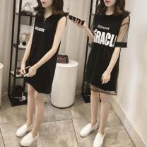 Dress Summer of 2018 M,L,XL,2XL Short sleeve commute Crew neck letter straps 18-24 years old Other Korean version Lace polyester fiber