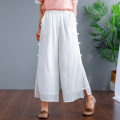 Casual pants Mmzj-35d12 black mmzj-35d12 blue mmzj-35d12 off white mmzj-35d12 white Average size Summer of 2019 Ninth pants Wide leg pants High waist commute Thin money 96% and above MMZJ-35D12 Ellie Billie other literature pocket cotton Other 100% Pure e-commerce (online only)