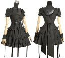Dress Summer 2020 black S. M, l, custom size Short skirt singleton  Short sleeve street square neck middle-waisted Solid color zipper Big swing puff sleeve Others 18-24 years old Type A Bowknot, ruffle, open back, Auricularia auricula, lace, splicing, three-dimensional decoration, bandage other Punk