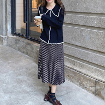 Fashion suit Winter 2020 S. M, average size Rice apricot sweater, black sweater, apricot skirt, black skirt 18-25 years old cotton