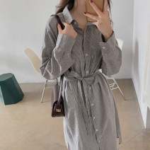 Dress Autumn 2020 Brown stripe, blue stripe S,M,L,XL Mid length dress singleton  Long sleeves commute Polo collar Loose waist stripe Single breasted A-line skirt shirt sleeve Others 18-24 years old Type A Korean version cotton