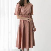 Dress Summer of 2019 White, blue, pink S,M,L,XL Mid length dress singleton  Short sleeve commute Crew neck Elastic waist Solid color zipper A-line skirt routine Others 18-24 years old Type A Other / other Korean version bow 51% (inclusive) - 70% (inclusive) brocade hemp